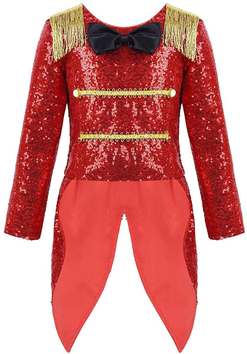 MSemis Toddler Girls Boys Ringmaster Circus Costume Sequins Gentleman Texudo Tailcoat for Halloween Show