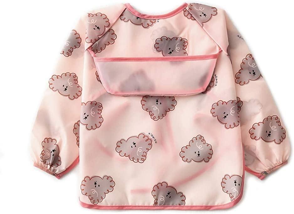 chefenstyWaterproof Baby Kid Apron Toddler Long Sleeve Feeding Bib Cartoon Art Burp Cloth