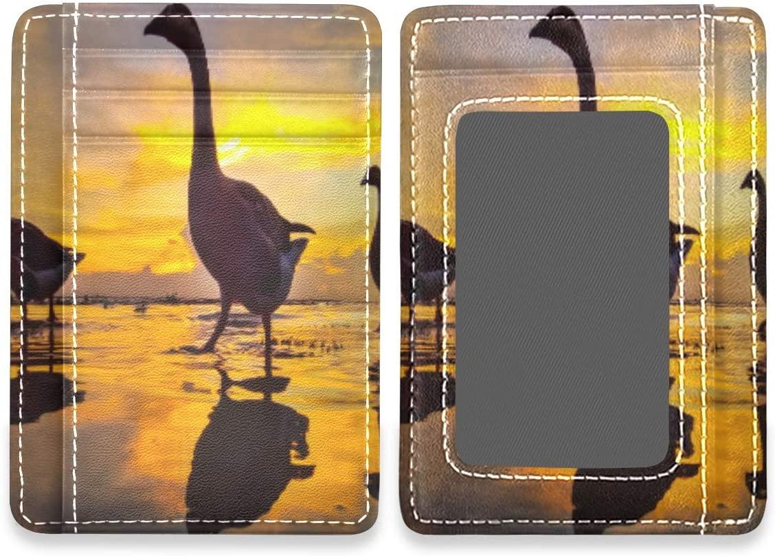 Cute Duck Sunset Dusk RFID Credit Card Holders Wallet Womens Mens Buissnes Card Case Organizer