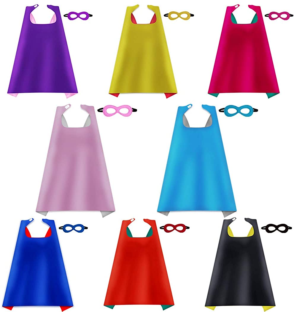 iROLEWIN Superhero Capes for Kids with Masks Dress Up Costumes - Boys Girls Super Hero Party Favors, 8 Pack