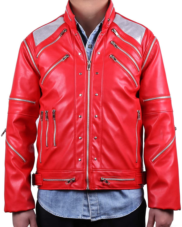 MJB2C-Style of Michael Jackson Beat it Costume Metal Zipper Leather Jacket Kids,Child/Adult Red