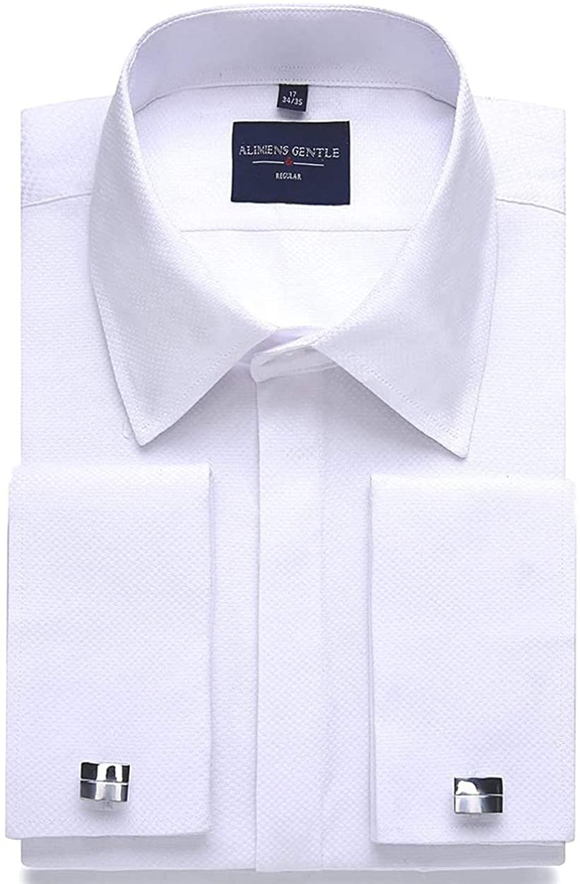 Alimens & Gentle Men's Dress Shirts French Cuff Long Sleeve Regular Fit (Include Metal Cufflinks and Metal Collar Stays)
