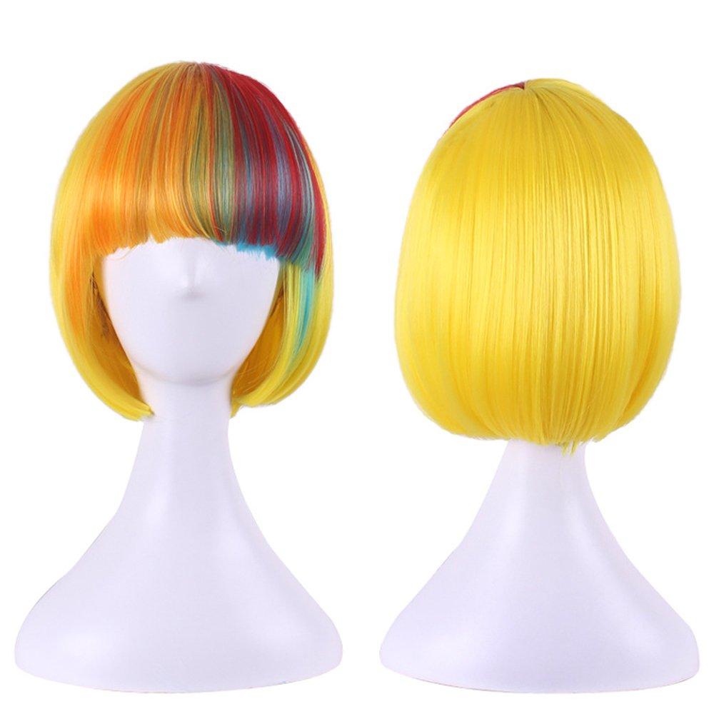 DENIYA Halloween Costume Short Hair Cosplay Synthetic Bob Colorful Rainbow Wig