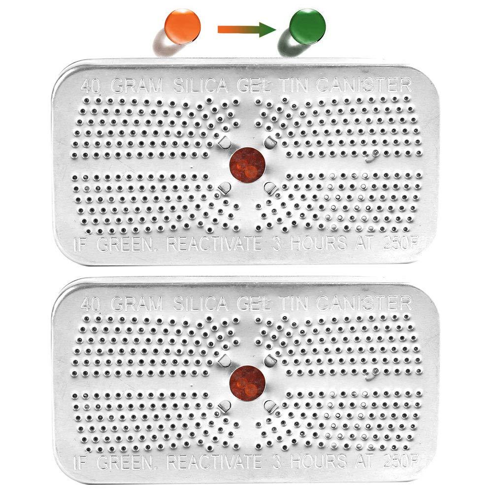 4 Packs Indicating Silica Gel Desiccant Canister Dehumidifier, 40Gram, Orange Indicating (Orange to Dark Green) Desiccant, Reusable and Safe Moisture Absorber Bag, No Cobalt II Chloride