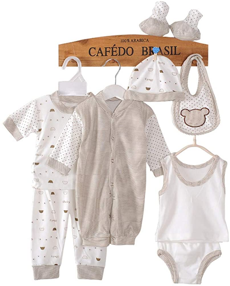Cute Underwear for Boys Girls Animal Pettern Top Pants Bib and Hat Set for Newborn Baby Clothing