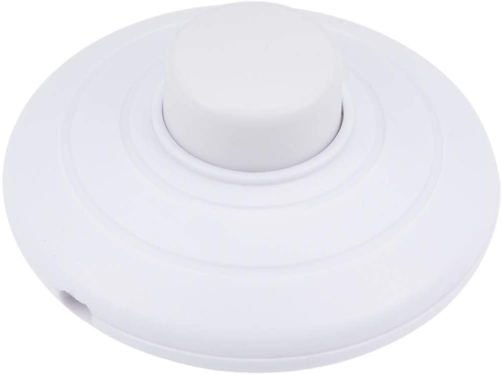 uxcell Inline Foot Pedal Push Button Switch, Round Lamp Light Foot Control ON-OFF Footswitch White