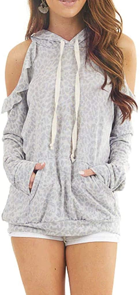 VJGOAL Womens Shirt Leopard Print Long Sleeves Hood Pullover Sweatshirt Blouses