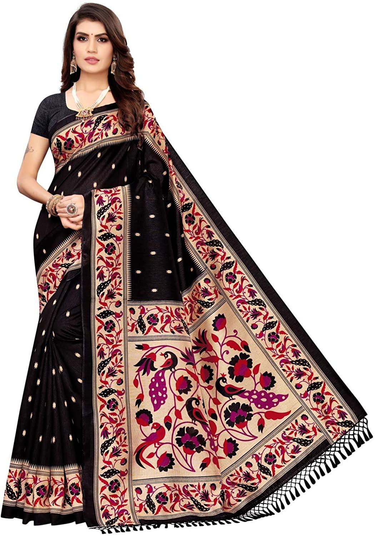 Indian Decor & Attire Women's Poly Silk Paithani Printed Saree with Blouse Black