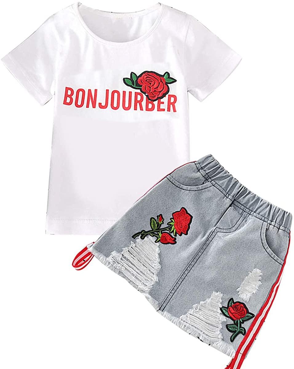 Haokaini Summer Baby Girls Rose T-Shirt Dress Suit, Casual Tops Denim Ripped Skirt Set for Toddler Infant