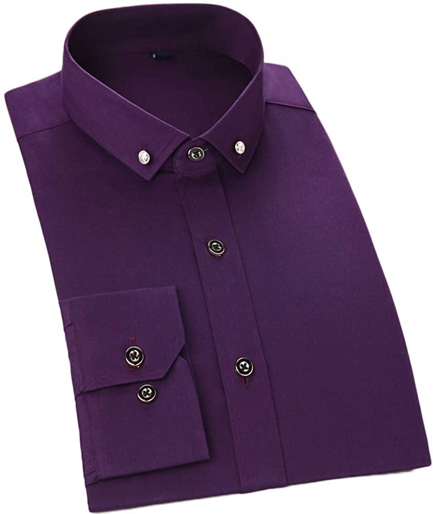 AK Beauty Men's Slim Fit Shirt Button Down Solid Long-Sleeve Dress Shirt