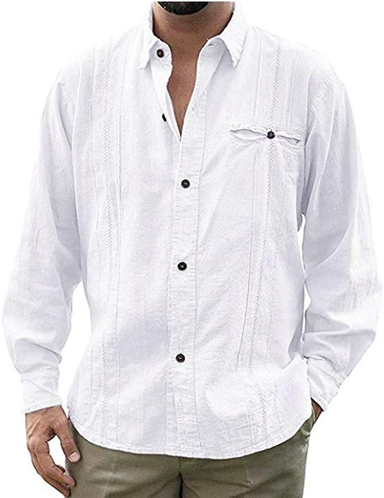 Mens Long Sleeve Shirt,Casual Button Down Dress t-Shirt Slim-Fit Poplin Shirts