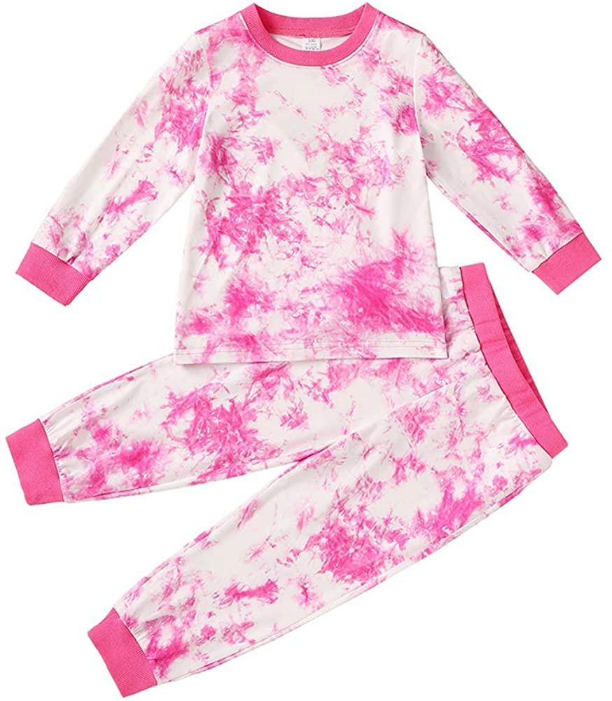 Toddler Unisex Baby Boy Girl Fall Winter Clothes Long Sleeves Tie Dye T-Shirt Top + Legging Pants 2Pcs Pajama Outfit Set