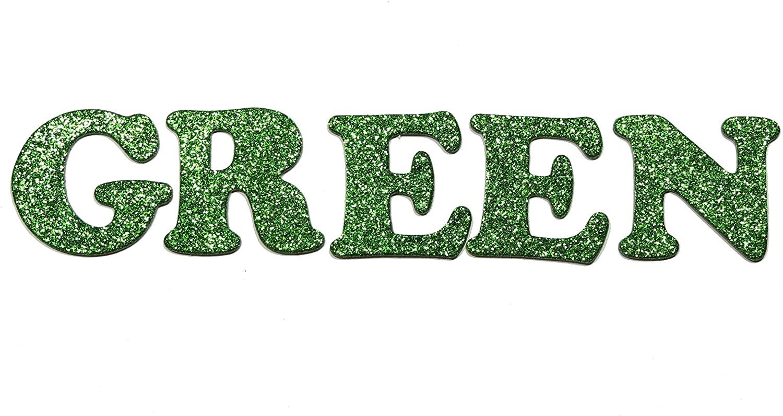 Green Metallic Glitter HandCut Chipboard Letters Alphabet Set Sickers 1.5