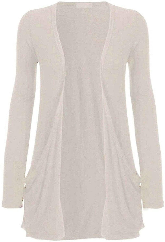 Hot Hanger Ladies Pocket Long Sleeve Cardigan : Color - Stone : Size - 12-14 ML