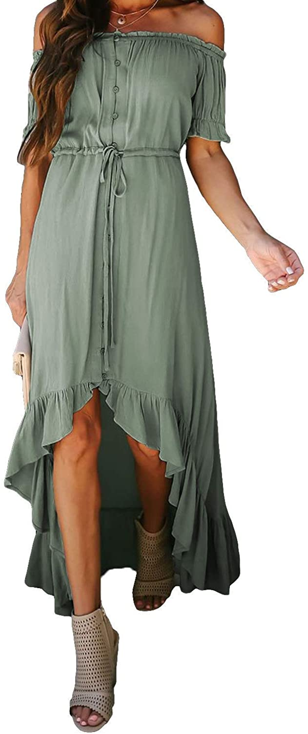 HOTAPEI Womens High Low Off The Shoulder Button Down Casual Summer Dresses Sexy Maxi Dress