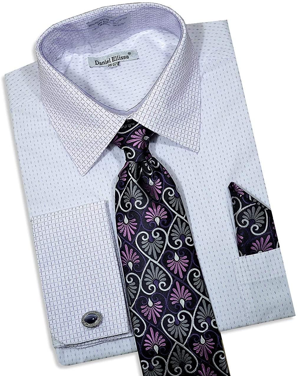 Daniel Ellissa Men's Long Sleeve Dress Shirt Tie Cufflink Hanky 3792