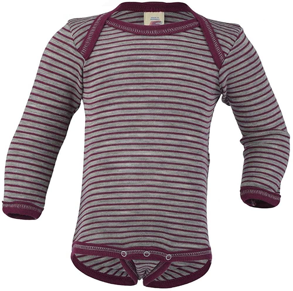 Organic Baby Clothes – Thermal Infant Onesie Bodysuit with Long Sleeves, Merino Wool Silk