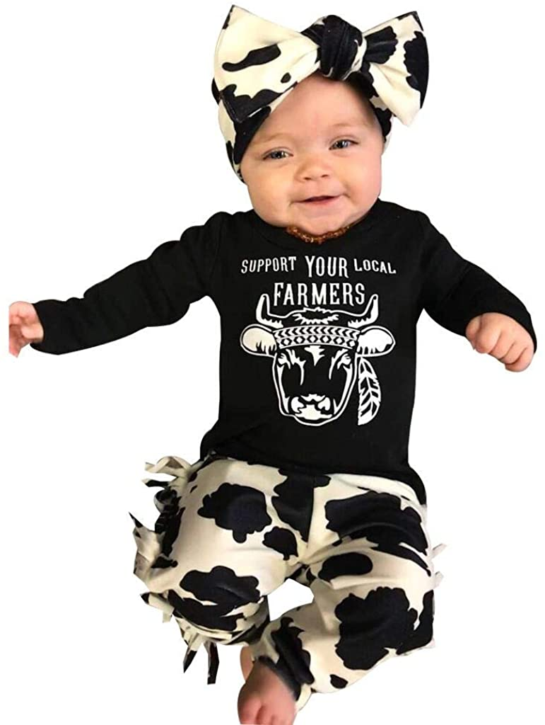 Fabal Newborn Infant Baby Girl Long Sleeve Clothes Cow Letter T Shirt+ Pants+ Headband Outfits Set