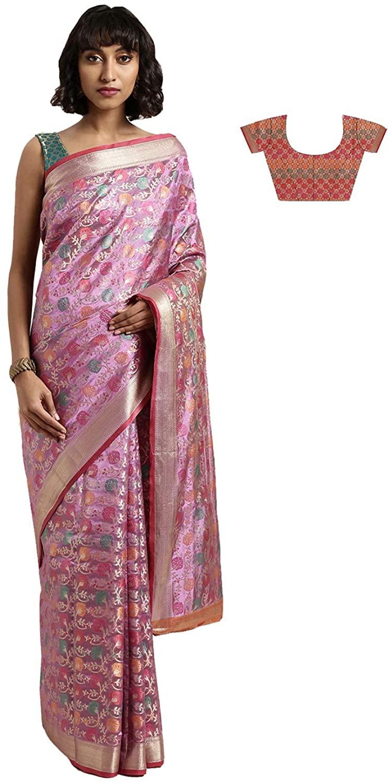 Indian Saree for Women Ethnic Sari Multi Kanjeevaram Art Silk Sari with Unstitched Blouse. ICW2771-6