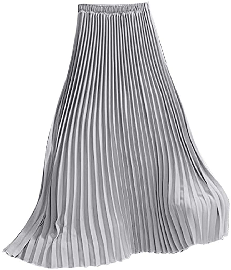 ZEFOTIM✿Womens Solid Pleated Elegant Midi Elastic Waist Maxi Skirt