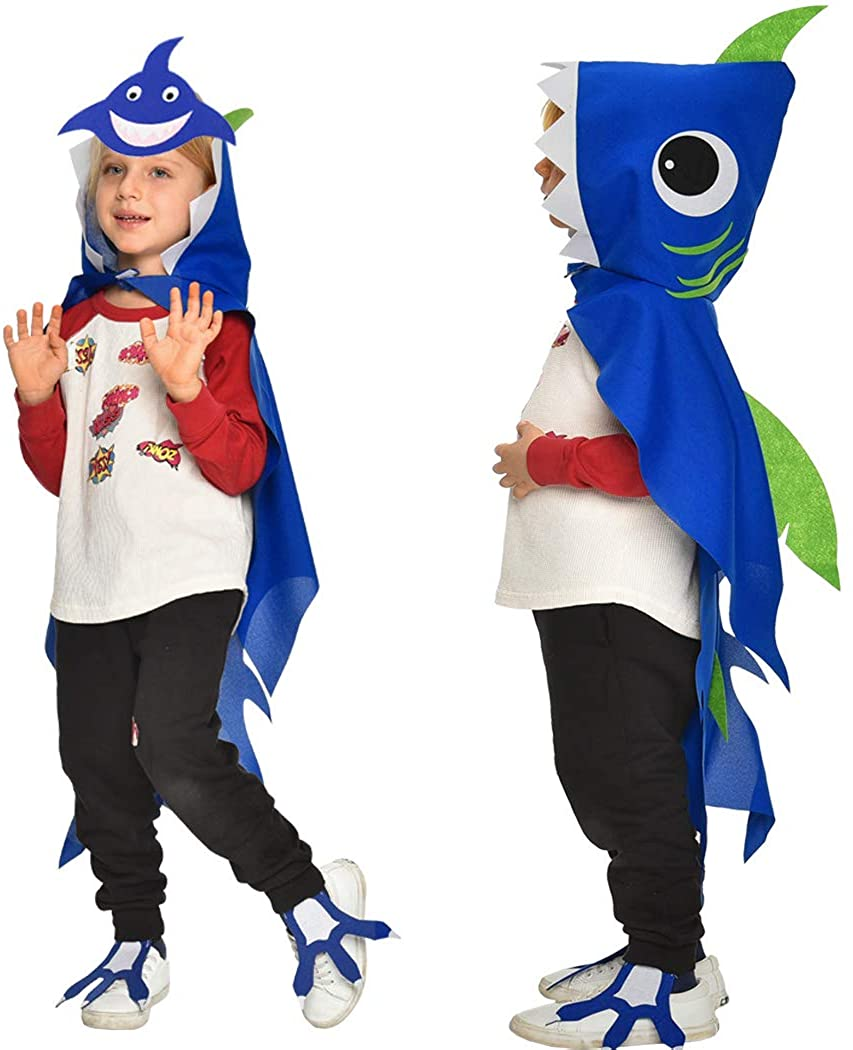 Kids Shark Costume Cape and Mask for Baby Boys-Girls with 3D Fin Animal Fancy Dress up Ocean Sea Party Favors
