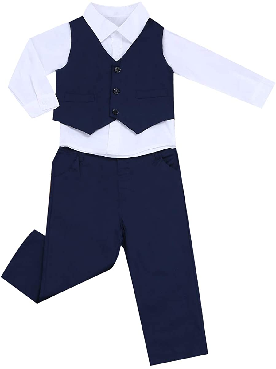 winying 3PCS Baby Boys Gentleman Outfit Long Sleeves Lapel Shirt with Pants Vest Set Wedding Birthday Party Tuxedo