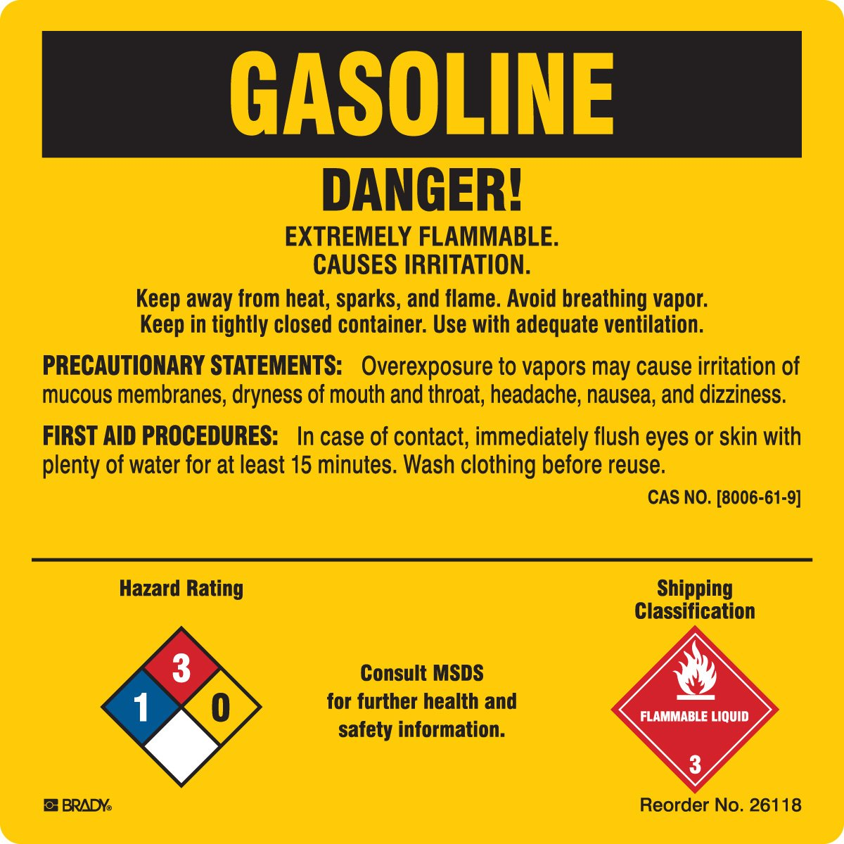 Brady 26118LS Chemical, Biohazard and Hazardous Material Labels, Self-Sticking Polyester, Paper, 5