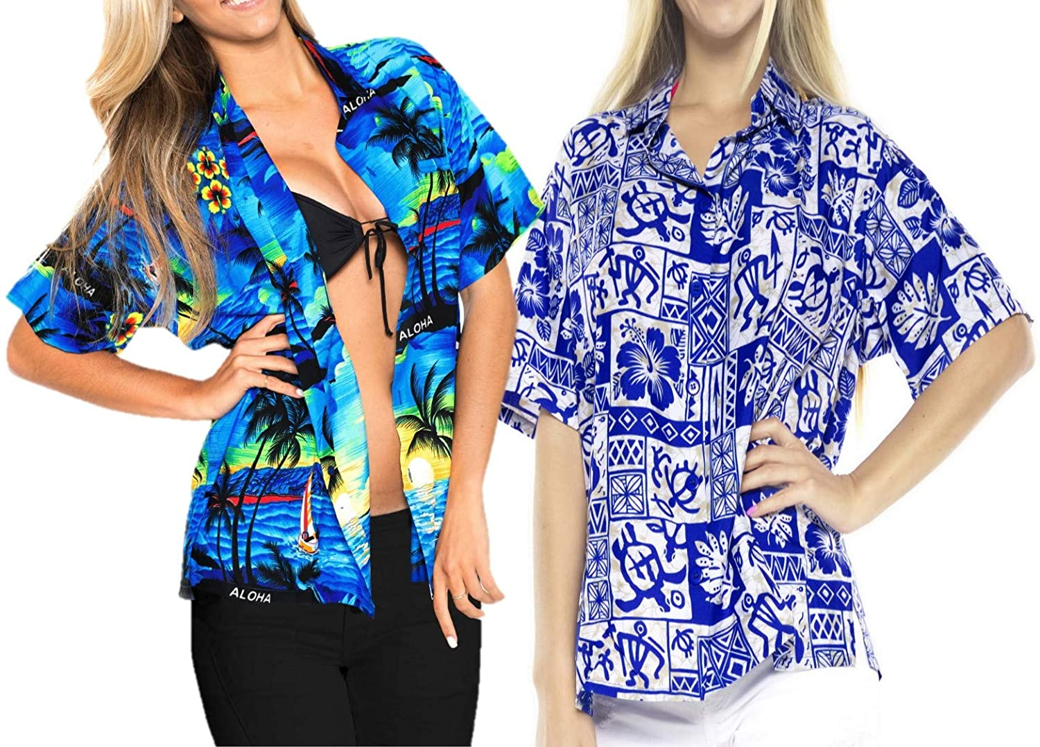 LA LEELA Women's Beach Hawaiian Shirt Button Down Aloha Camp Shirt XXL Work from Home Clothes Women Blouse Pack of 2