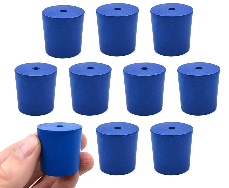 Neoprene Stopper, 1 Hole - Blue, Size: 25mm Bottom, 28mm Top, 28mm Length - Pack of 10