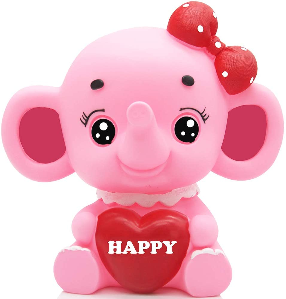 H&W Cartoon Happy Elephant Coin Bank(C), Can Store 1000 Coins,Money Box, Piggy Bank, Best Gift Kids, Girls, Pink (WK3-D5)
