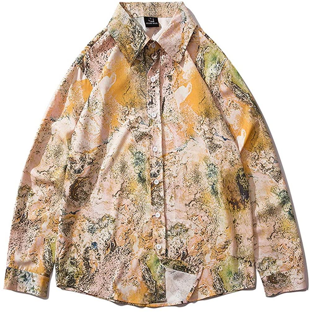 OTNZQZYF Printed Long Sleeve Shirt Men Streetwear Fall Shirt Retro Shirts Harujuku Mens Shirt 2062