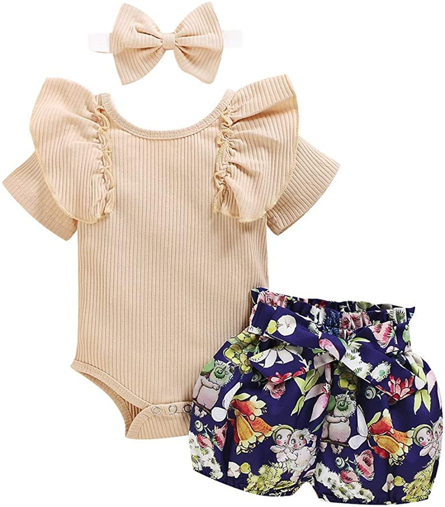 Firespit Toddler Baby Girl Ribbed Knitted Short Sleeve Romper+Floral Shorts+Headband Set