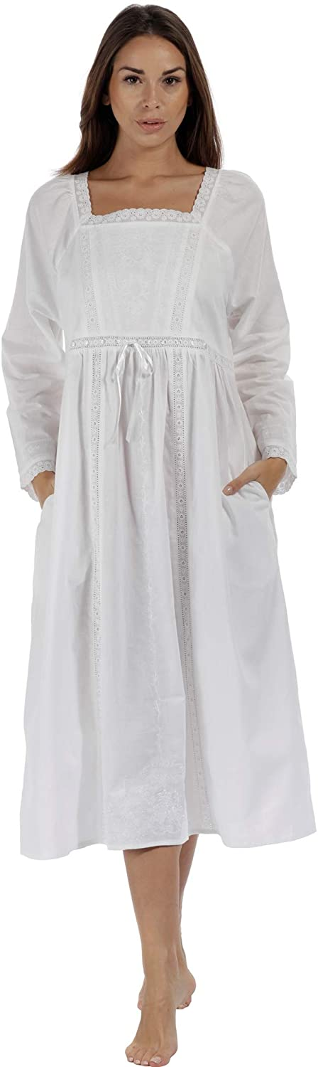 The 1 for U 100% Cotton Nightgown in Victorian Style with Pockets - Kayla