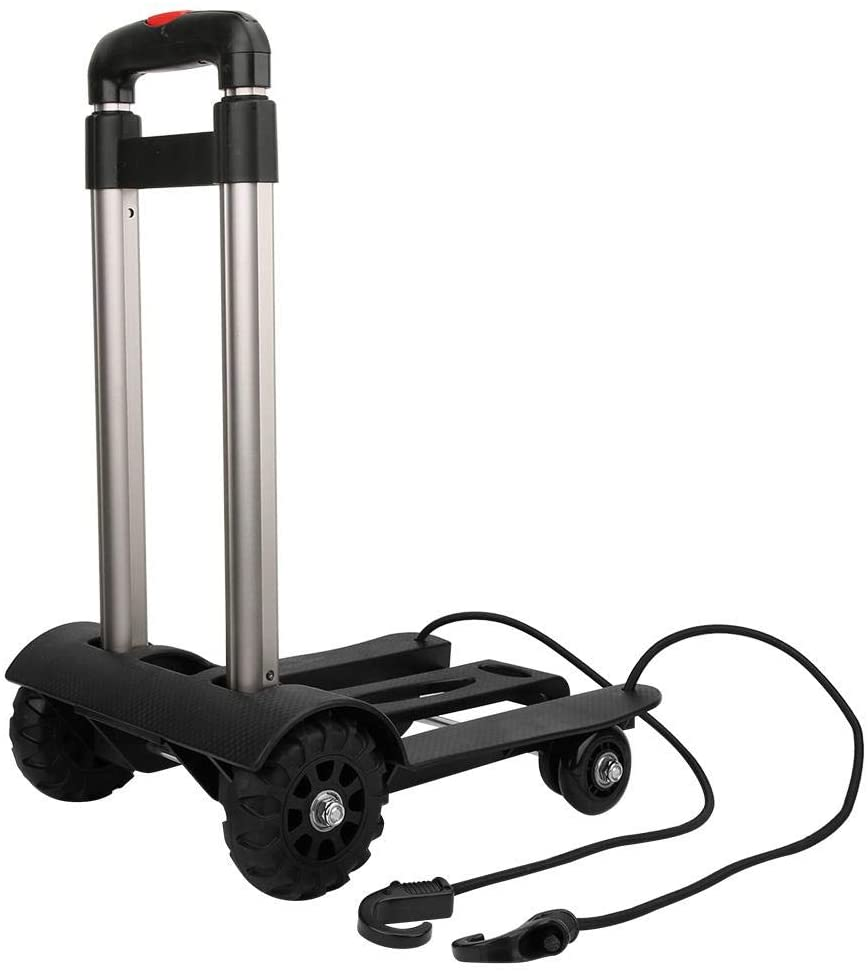 MAGT Luggage Cart, Aluminum Alloy Hand Truck Portable Folding Luggage Cart Folding Hand Truck with Wheels Adjustable Fixing Band