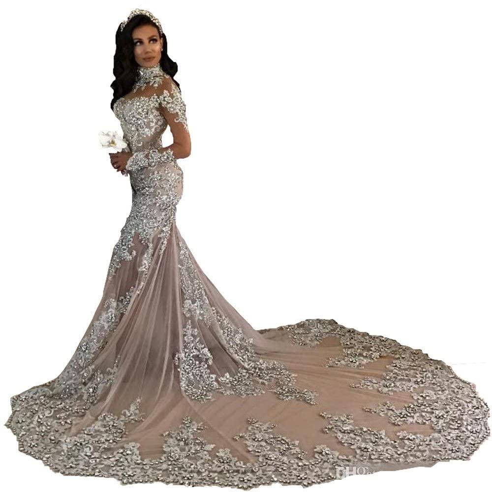 Changjie Women's Long Sleeves Wedding Dresses Lace Applique Mermaid Bridal Gown