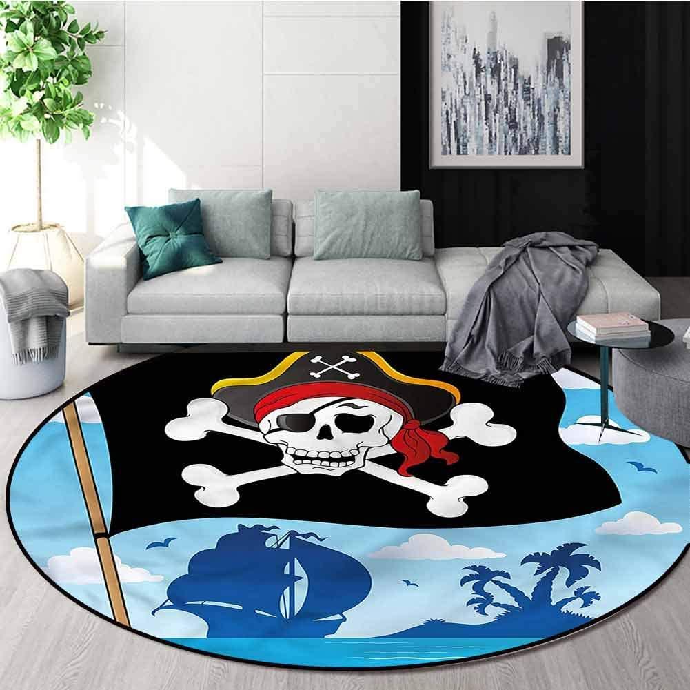 RUGSMAT Pirate Round Area Rug Carpet,Danger Sign Beware Skull Design Non-Slip Fabric Round Rugs for Floor Mat Carpet Diameter-39