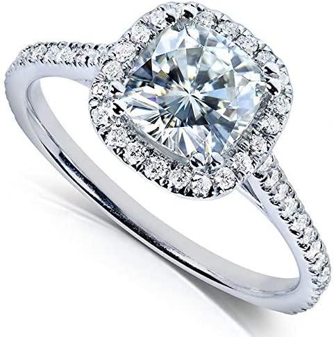 Kobelli Cushion-cut Moissanite Engagement Ring 1 1/3 CTW 14k White Gold