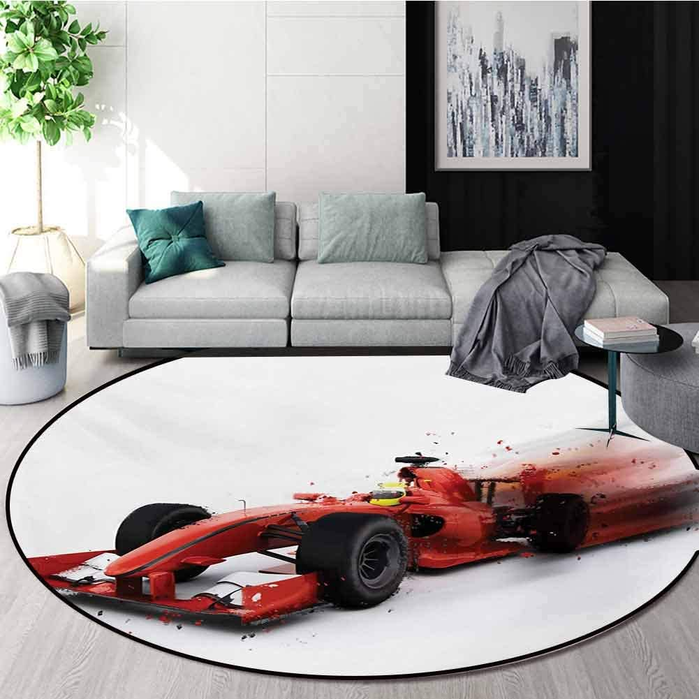 RUGSMAT Cars Rug Round Home Decor Area Rugs,Generic Formula 1 Racing Car Illustration with Special Effect Turbo Motion Auto Print Non-Skid Bath Mat Living Room/Bedroom Carpet,Diameter-55 Inch