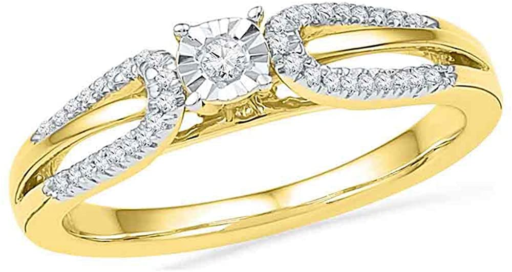 10kt Yellow Gold Round Diamond Solitaire Open-shank Bridal Wedding Engagement Ring 1/6 Cttw