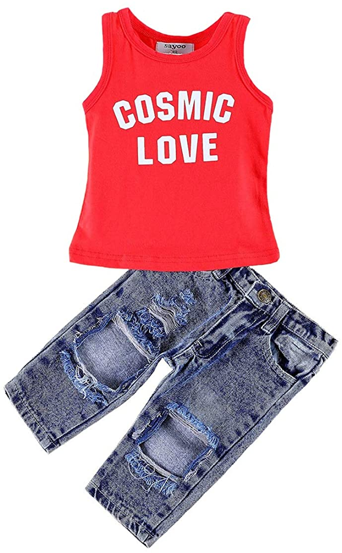 Baby Girls Summer Clothes Set Cute Off Shoulder Top Ruffle Blouse+Ripped Long Jeans Pants Outfit