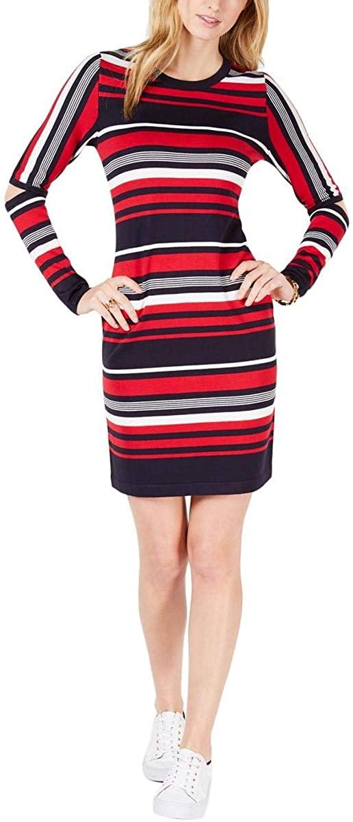 RACHEL Rachel Roy Womens Plus Metallic One Shoulder Sweaterdress Black 1X