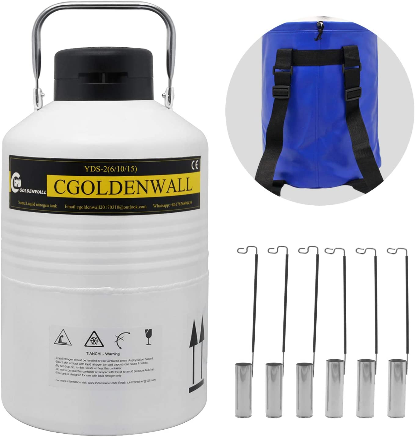 CGOLDENWALL 6L Cryogenic Container Liquid Nitrogen LN2 Tank Dewar Liquid nitrogen dewar Aluminum Alloy with 6 Canisters and Carry Bag