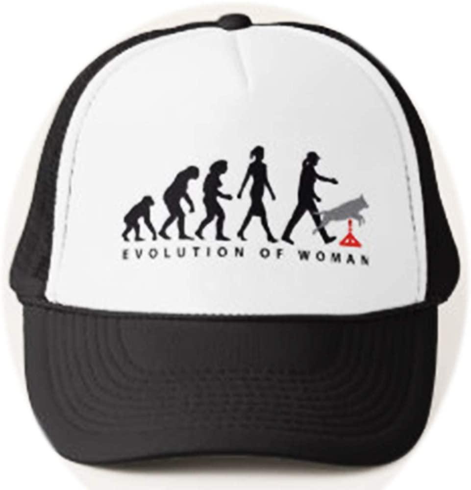U-A-N Funny Agility Dog Sport Evolution of Woman Trucker hat Evolution Adjustable Mesh Trucker Hat Baseball Cap