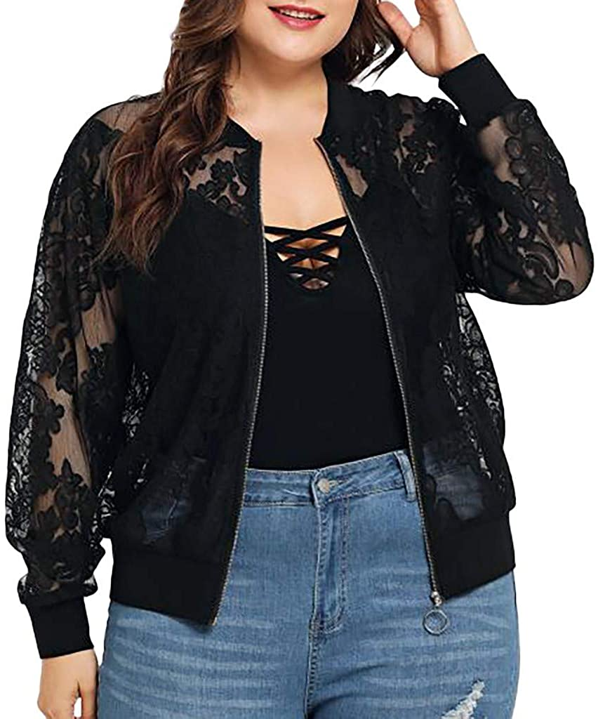 FEDULK Womens Plus Size Cardigan Jacket Open Pront Lace Loose Casual Shawl Cover Up Beachwear Tops