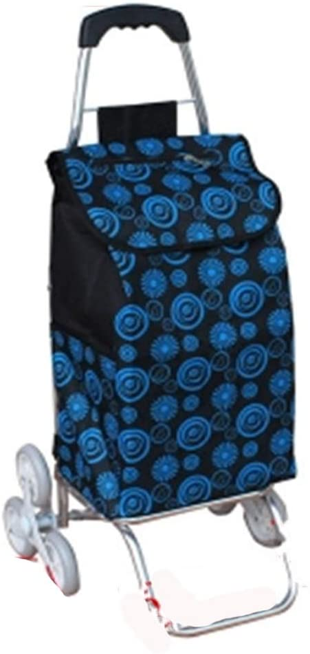Monkibag Shopping Grocery Cart Folding Aluminum Alloy Shopping Cart Waterproof Printed Oxford Cloth Bag Lightweight Climbing Trolley Cart 6 Wheels (Color : Blue, Size : Free Size)