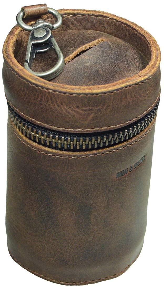 Hide & Drink, Leather Money Box, Piggy Bank Bucket, Zippered Pouch, Cash Organizer, Coin Case, Handmade Includes 101 Year Warranty :: Bourbon Brown