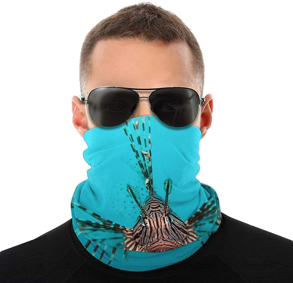 Pterois volitans Manado-e edit Neck Gaiter Unisex adult Windproof Mask Dust Sports novelty Face Mask Half Balaclava Weather bandana women men Outdoors Festivals