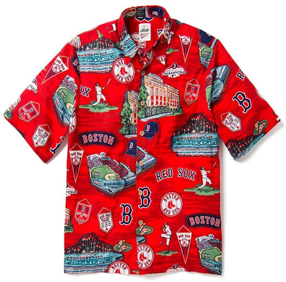 Reyn Spooner Men's Boston Red Sox MLB Classic Fit Hawaiian Shirt