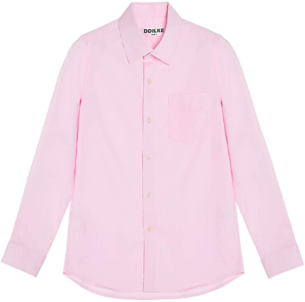 DDILKE Boys' Long Sleeve Dress Shirt Casual Button Down Uniform Shirts