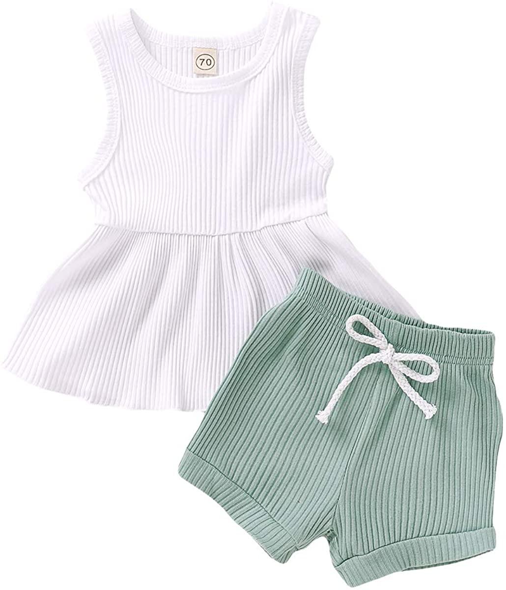 Infant Toddler Baby Girls Summer Outfits Tutu Sleeveless T-Shirt Tops + Elastic Waist Shorts 2Pcs Clothes